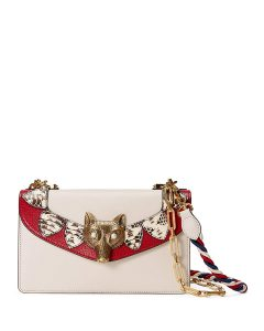 Gucci White/Red Leather/Snakeskin Broche Shoulder Bag