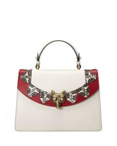 Gucci White/Red Loved Broche Top Handle Bag