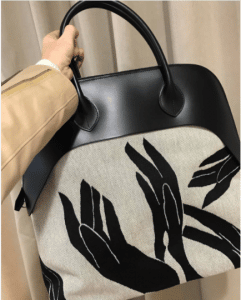 Hermes Black/Natural Canvas Printed Bolide Bag 2 - Fall 2017