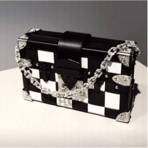 Louis Vuitton Black/White Checkered Petite Malle Bag - Fall 2017