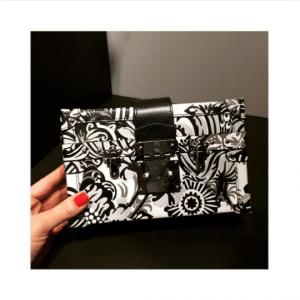 Louis Vuitton Black/White Floral Print Epi Petite Malle Bag - Fall 2017