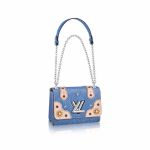 Louis Vuitton Blue Denim Epi Embellished Twist MM Bag