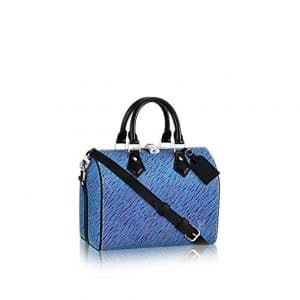 Louis Vuitton Blue Denim Epi Speedy Bandouliere 25 Bag
