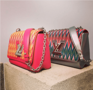 Louis Vuitton Pink and Silver Embroidered Twist Bags - Pre-Fall 2017