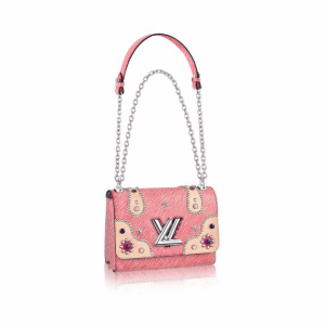 Louis Vuitton Red Denim Epi Embellished Twist MM Bag