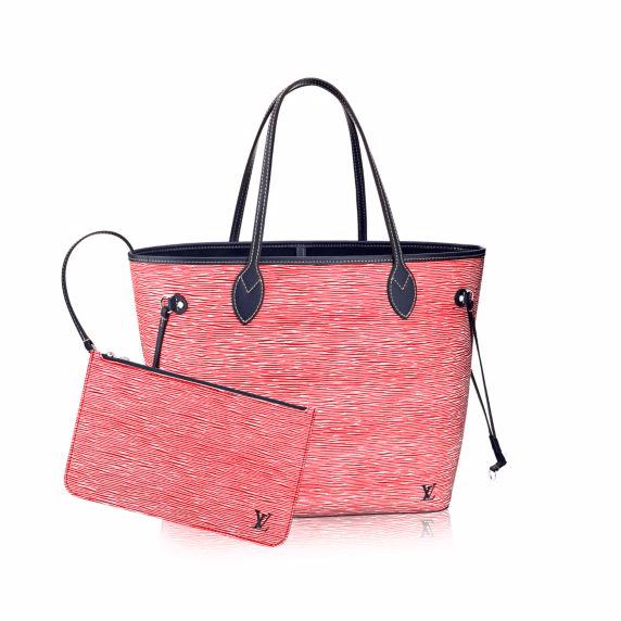 8deb4b9bc50a Louis Vuitton Red Denim Epi Neverfull MM Bag