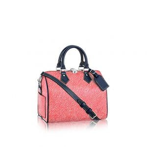 Louis Vuitton Red Denim Epi Speedy Bandouliere 25 Bag