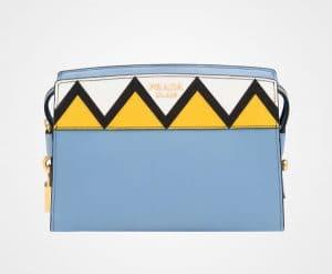 Prada Astral Blue/Sunny Yellow Geometric Printed Esplanade Shoulder Bag