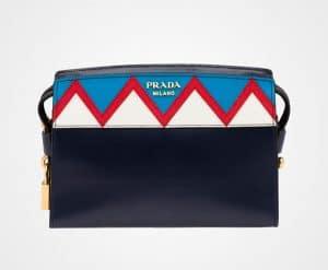 Prada Baltic Blue/Red Geometric Printed Esplanade Shoulder Bag