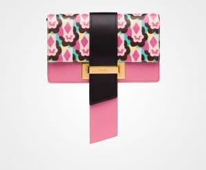 Prada Begonia Pink/Black Madras Print Metal Ribbon Bag