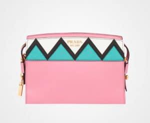 Prada Begonia Pink/Jade Green Geometric Printed Esplanade Shoulder Bag