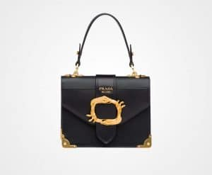 Prada Black Animalier Top Handle Bag