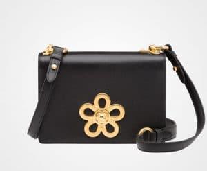 Prada Black Leather Corolle Shoulder Bag