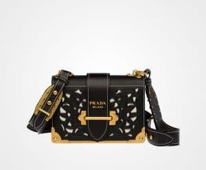 Prada Black Perforated Cahier Bag
