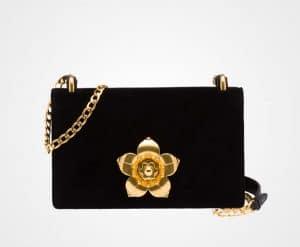 Prada Black Velvet Corolle Bag