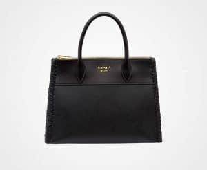 Prada Black Whip-Stitched Paradigme Bag