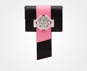 Prada Black/Begonia Pink Jewels Ribbon Bag