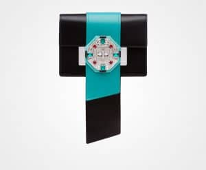 Prada Black/Jade Green Jewels Ribbon Bag