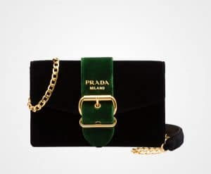 Prada Black/Laurel Green Velvet Shoulder Bag