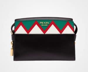 Prada Black/Red Geometric Printed Esplanade Shoulder Bag