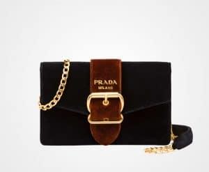 Prada Black/Rust Velvet Shoulder Bag