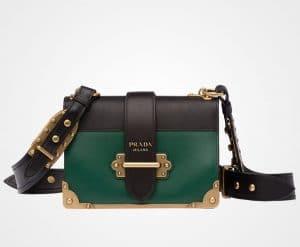 Prada Brilliard Green/Black Cahier Bag