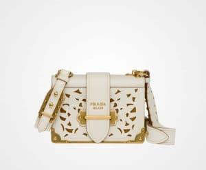 Prada Chalk White Perforated Cahier Bag