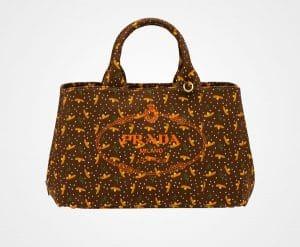 Prada Cocoa Brown Printed Fabric Tote Bag