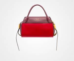 Prada Fire Engine Red/Garnet:Sunny Yellow Bowling Ribbon Bag