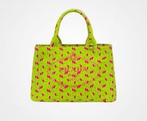Prada Grass Green Printed Fabric Small Tote Bag