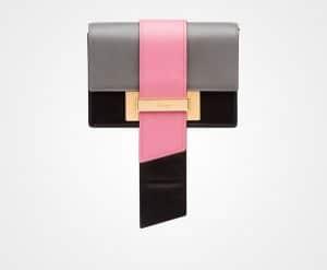 Prada Marble Gray/Begonia/Black Metal Ribbon Bag