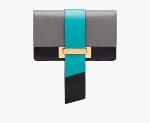 Prada Marble Gray/Jade Green/Black Metal Ribbon Bag