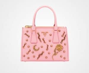 Prada Pale Rose Embellished Galleria Bag
