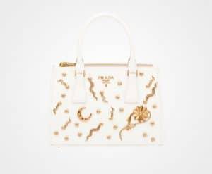 Prada White Embellished Galleria Bag