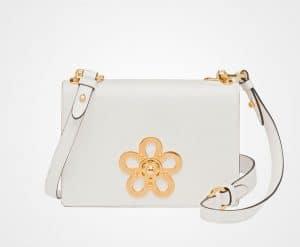 Prada White Leather Corolle Shoulder Bag