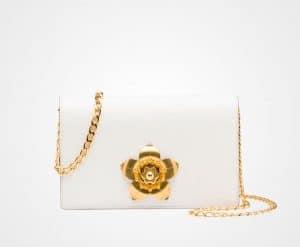 Prada White Small Corolle Chain Shoulder Bag