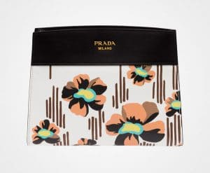 Prada White/Black Madras Print Bibliotheque Shoulder Bag