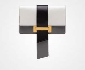 Prada White/Black/Marble Gray Metal Ribbon Bag