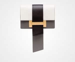 Prada White/Black/Marble Gray Small Metal Ribbon Bag
