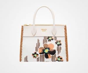 Prada White/Caramel Madras Print Paradigme Bag