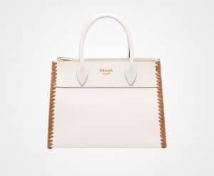 Prada White/Caramel Whip-Stitched Paradigme Bag