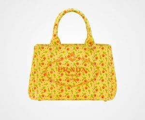 Prada Yellow Printed Fabric Small Tote Bag