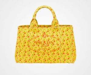 Prada Yellow Printed Fabric Tote Bag