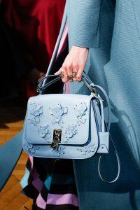Valentino Light Blue Floral Embellished Saddle Bag - Fall 2017