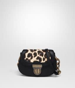 Bottega Veneta Black Leopard Print Umbria Bag