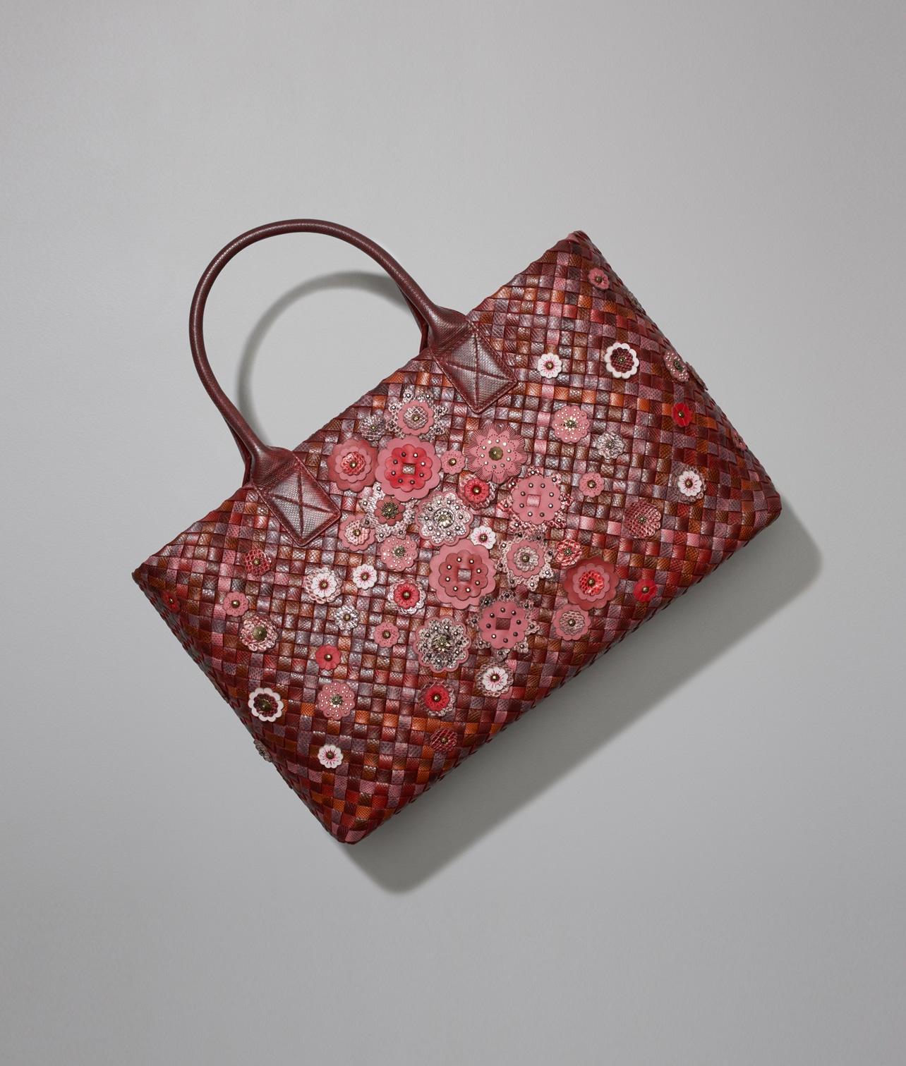 60729a7ef3a5 Bottega Veneta Multicolor Karung Ayers Floral Embellished Cabat Bag