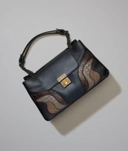 Bottega Veneta Nero Calf/Crocodile Kyoto Bag