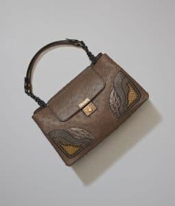 Bottega Veneta Steel New Ostrich Kyoto Bag