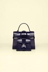 Delvaux Indigo Alligator Tempete GM and Brillant Mini Bags