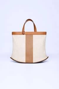 Delvaux Ivory/Vegetal Toile/Sangle Pin Cabas Bag